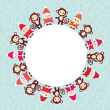 2016 Happy New Year card for your text round frame. Funny gnomes in red hats brown monkey on blue background. Vector illustration Royalty Free Stock Images