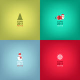 Happy New Year cards design. Set of cards, banners in minimalistic style. Santa Claus, snowflakes, snowman, christmas tree. Vector. Illustration Stock Photos
