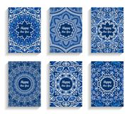 Happy New Year Cards Flourish Mandala Design. Happy New Year Cards. Vector text on flourish mandala backgrounds. 5 to 7 ratio. Abstract flowers in blue and white Stock Images