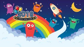 Happy New Year, Cartoon background. Crazy monster children cartoon. Fun imaginary kids. Vector illustration Stock Photography