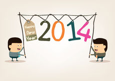 Happy New Year 2014. With Cartoon Businessman Royalty Free Stock Image
