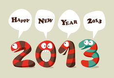 Happy New Year cartoon card Royalty Free Stock Images