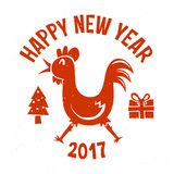 Happy new year 2017 cartoon cock vector illustration red. Happy new year 2017 cartoon cock vector illustration Royalty Free Stock Image