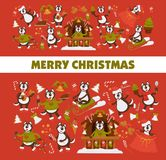Happy New Year 2018 cartoon dog celebrating holidays greeting card design template. Vector dog funny character icons with Xmas tree decoration and Christmas Royalty Free Stock Photography