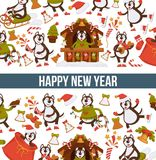 Happy New Year 2018 cartoon dog celebrating holidays greeting card design template. Vector dog funny character icons with Xmas tree decoration and Christmas Royalty Free Stock Photos