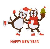 Happy New Year 2018 dogs cartoon in Santa hat and Christmas tree vector greeting card icon Stock Image