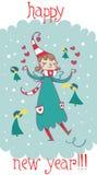 Happy new year cartoon fairy. An happy new year cartoon fairy Royalty Free Stock Photo