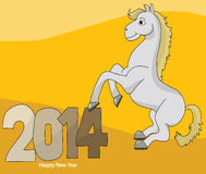 Happy new year 2014. Cartoon horse celebrate Stock Photos
