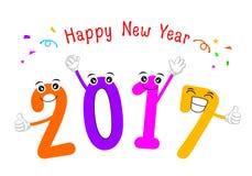 2017 Happy New Year. Cartoon number celebration. Illustration isolated on white background stock illustration