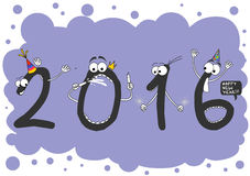 Happy New Year 2016. Happy New Year with cartoon numbers 2016 Stock Photo