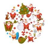 Happy New Year cartoon Santa celebrating holidays or having leisure summer fun icons for greeting card design. Vector funny Santa character decorating Xmas stock illustration