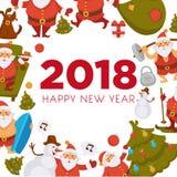 Happy New Year cartoon Santa celebrating holidays or having leisure summer fun icons for greeting card design. Vector funny Santa character decorating Xmas Royalty Free Stock Photos