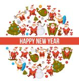 Happy New Year cartoon Santa celebrating holidays or having leisure summer fun icons for greeting card design. Vector funny Santa character decorating Xmas Stock Photos