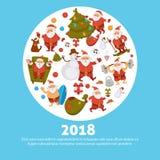 Happy New Year cartoon Santa celebrating holidays or having leisure summer fun icons for greeting card design. Vector funny Santa character decorating Xmas Stock Photo