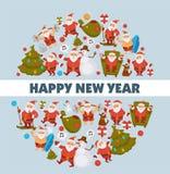 Happy New Year cartoon Santa celebrating holidays or having leisure summer fun icons for greeting card design. Vector funny Santa character decorating Xmas vector illustration