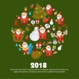 Happy New Year cartoon Santa celebrating holidays or having leisure summer fun icons for greeting card design. Vector funny Santa character decorating Xmas Stock Image