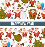 Happy New Year cartoon Santa celebrating holidays or having leisure summer fun icons for greeting card design. Vector funny Santa character decorating Xmas Royalty Free Stock Images
