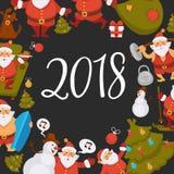 Happy New Year cartoon Santa celebrating holidays or having leisure summer fun icons for greeting card design. Vector funny Santa character decorating Xmas Royalty Free Stock Photography
