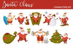 Happy New Year cartoon Santa celebrating holidays skiing with gifts bag or summer ocean surfing. Vector funny Santa character icons decorating Xmas tree with royalty free illustration