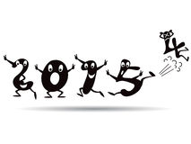 Happy New Year 2015 - cartoon style. The happy cartoon style for 2015 new years coming royalty free illustration