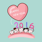 Happy new year. With cartoon tooth family, great for health dental care concept stock illustration