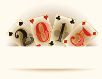 Happy new 2015 year casino poker cards Royalty Free Stock Photography
