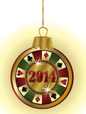Happy New 2014 Year casino poker chip Royalty Free Stock Photography