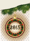 Happy new 2015 year casino poker chip. Vector illustration Stock Images