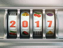Happy New Year 2017 in casino. Slot machine with number 2017. 3d illustration royalty free illustration