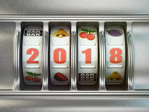 Happy New Year 2018 in casino. Slot machine with number 2018. Stock Image