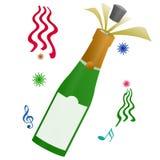 Happy New Year Celebration. Bottle champagne for happy new year celebration illustration with white background stock illustration
