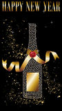 Happy New Year celebration. Diamond champagne bottle with gold ribbon in New Year celebration. Vector file available vector illustration