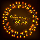 Happy New Year celebration abstract Seasons greetings background with light garland Royalty Free Stock Images
