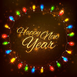 Happy New Year celebration abstract Seasons greetings background with light garland Stock Images
