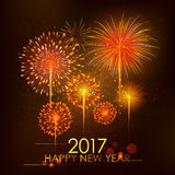Happy New Year 2017 celebration abstract Starburst Seasons greetings background with firework. Illustration of Happy New Year 2017 celebration abstract Starburst Stock Images