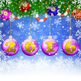 Happy New year celebration background. Happy New year  celebration 2016   background with christmas ball hanging from the  the fir tree . concept for greeting or Stock Photo