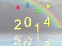 Happy new year 2014 celebration. Happy new year background with Christmas bauble Royalty Free Stock Photos