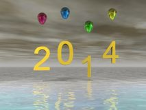 Happy new year 2014 celebration. Happy new year background with Christmas bauble Stock Photos