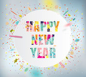 Happy New Year. Celebration background with colorful confetti Royalty Free Stock Photo