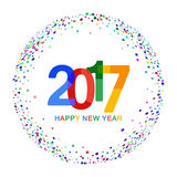 Happy New Year 2017 celebration background. Colorful paper typeface on backdrop with confetti. Vector illustration. Happy New Year 2017 celebration background Royalty Free Stock Images