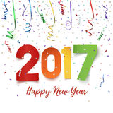 Happy New Year 2017 celebration background. Happy New Year 2017 colorful paper typeface on background with ribbons and confetti on white. Happy New Year Royalty Free Stock Photos