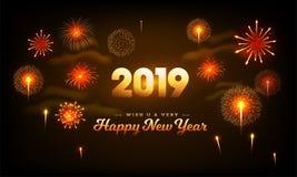 2019 Happy New Year celebration background decorated with bursting fireworks. royalty free illustration