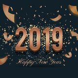 2019 Happy New Year Celebration Background Design With Falling R vector illustration
