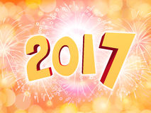 Happy New Year 2017 celebration background with firework. Golden Happy New Year 2017 celebration party background with firework Stock Photo