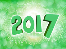 Happy New Year 2017 celebration background with firework. Green Happy New Year 2017 celebration party background with firework Stock Images