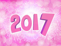 Happy New Year 2017 celebration background with firework. Pink Happy New Year 2017 celebration party background with firework Royalty Free Stock Photography