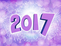 Happy New Year 2017 celebration background with firework. Purple Happy New Year 2017 celebration party background with firework Stock Photography