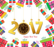 Happy new year 2017. Celebration background with gift boxes and clock.  Royalty Free Stock Images