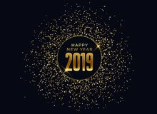 2019 happy new year celebration background with glitter and sparkles. Vector stock illustration