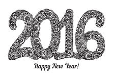 Happy New Year 2016 celebration background. Hand drawn Xmas illustration with doodle ornament and figures 2016. Zentangle style Royalty Free Illustration